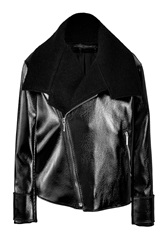 Anthony Vaccarello Wool Cotton Biker Jacket Black