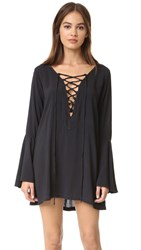 Blue Life Lace Up Tunic Dress Soft Black