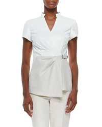 Lafayette 148 New York Short Sleeve Linen And Leather Blouse