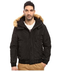 Marc New York Knox Memory Shell Down Bomber With Faux Fur Trimmed Removable Hood Black Men's Coat