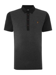 Farah Hammond Regular Fit Textured Front Polo Shirt Black