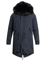 Mr And Mrs Italy Fur Trimmed Canvas Parka Navy Multi