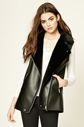 Forever 21 Faux Leather Moto Vest Black