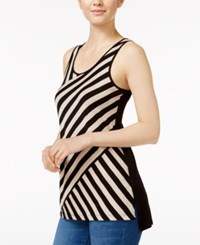 Kensie Bias Cut Striped Tank Top Black Combo