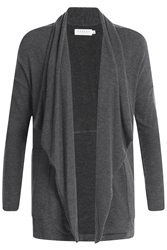 Velvet Draped Cardigan Grey