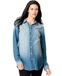 A Pea In The Pod Maternity Chambray Shirt Medium Wash Denim