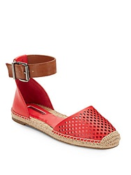 Bcbgeneration Felicity Laser Cut Leather Espadrille Flats Red