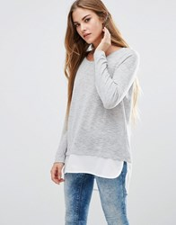 Only Jessy Jess Long Sleeved Layered Top Lgm W Cloud Dancer Grey