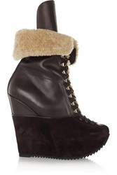 Yves Saint Laurent Ariane Shearling And Suede Platform Boots