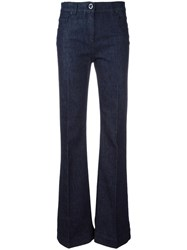 Versace Pleated Leg Flared Jeans Blue