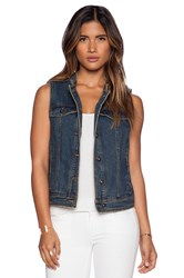 Free People Ripped Lace Up Vest Indigo