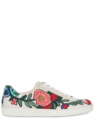 Gucci Floral Leather And Ayers Sneakers