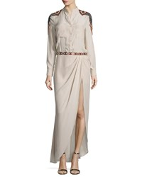 Haute Hippie Long Sleeve Embroidered Silk Shirtdress Size 6 Tan Buff