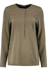 Brunello Cucinelli Beaded Silk Blend Top Army Green