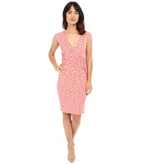 Adrianna Papell Print Extended Shoulder Bird Jersey Dress Light Coral Women's Dress Tan