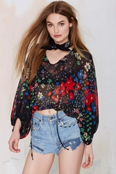Nasty Gal After Party Vintage Jessa Chiffon Peasant Blouse