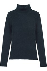 3.1 Phillip Lim Ribbed Stretch Wool Turtleneck Sweater Navy