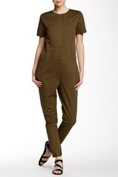 Shades Of Grey Asymmetrical Front Zip Flightsuit Green