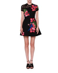 Valentino Tropical Dream Short Sleeve Knit Dress Multicolor Multi Colors