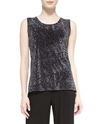 Caroline Rose Diamond Crushed Velvet Tank Charcoal Petite Grey