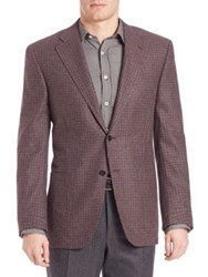 Canali Wool Check Sportcoat Dark Red