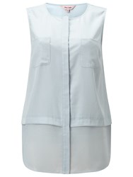 Phase Eight Megan Woven Mix Sleeveless Top Cloud