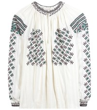 Vanessa Bruno Embroidered Beaded Cotton Blouse White