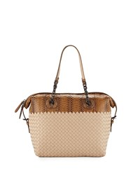 Medium Intrecciato And Snakeskin Satchel Bag Cream Ivory Bottega Veneta