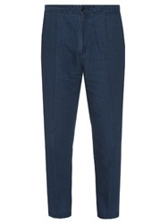 Vince Cotton And Linen Blend Cropped Chino Trousers Indigo