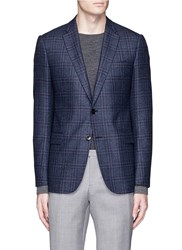 Armani Collezioni 'Metropolitan' Check Plaid Virgin Wool Blazer Blue