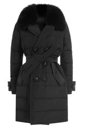 Dsquared2 Quilted Down Coat With Fur Trimmed Collar Black