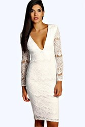 Boohoo India Crochet Lace Midi Dress Ivory