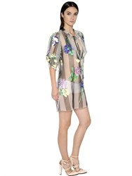 Blumarine Floral Embroidered Silk Organza Dress