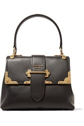 Prada Cahier Large Leather Tote Black