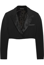 Vika Gazinskaya Cropped Wool Blend Tuxedo Jacket Black