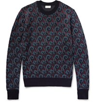 Dries Van Noten Ika Jacquard Knit Erino Wool Blend Sweater Idnight Blue Midnight Blue