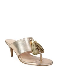 Tahari Rowan Leather Thong Slide Sandals Gold