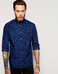 Paul Smith Jeans Long Sleeve Shirt In Tailored Slim Fit With Paint Print Blue