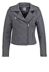Vero Moda Vmsave Faux Leather Jacket Pewter Grey