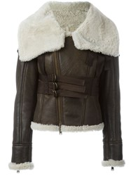 Dsquared2 Shearling Collar Zipped Jacket Brown