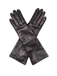 Max Mara Long Leather Gloves Navy
