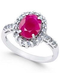 Macy's Ruby 2 1 3 Ct. T.W. And Diamond 3 8 Ct. T.W. Oval Ring In 14K White Gold Red