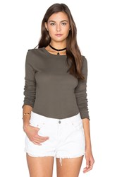 Enza Costa Cotton Slub Rib Fitted Long Sleeve Crew Neck Tee Olive