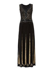 Lace And Beads Sleeveless Embellished Flapper Maxi Dress Black