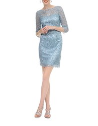 Kay Unger Sequined Lace Dress Misty Blue