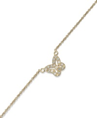 B. Brilliant 18K Gold Over Sterling Silver Anklet Cubic Zirconia Butterfly Anklet 1 5 Ct. T.W.