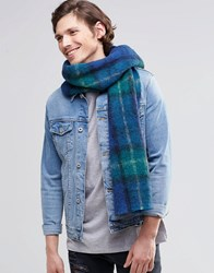 Scotch And Soda Oversized Check Scarf Blue