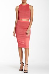 Blvd Perforated Pencil Skirt Pink