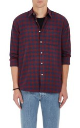Barneys New York Men's Buffalo Checked Cotton Flannel Shirt Red Blue Red Blue