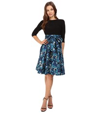 Adrianna Papell Jersey And Floral Jacquard Fit And Flare Dress Blue Multi Women's Dress